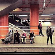 Obligatory Brussels Metro station shot (it's like they're posing just for ME)         by southcoasting metro, passengers, peopleonpublictransport, platform, standing, station, waiting,