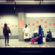 Four women, one man by southcoasting brussels, bruxelles, metro, passengers, platform,