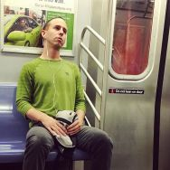 Green and red by Fran Simó candid, color, colour, nyc, passengers, street, streetphotography, subwaypeople,