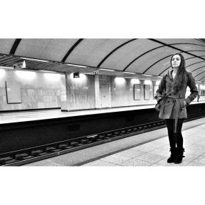 The solemn act of waiting for the subway by Godo Chillida athens, blackandwhite, bnw, bnw_life, bnw_society, bw, bw_lover, bw_photooftheday, bw_planet, girl, greece, monochrome, passengers, streetphoto, streetphotography, streetphotography_bw, streetphoto_bw, subway, subwaystation, ubiquography, waitingfor,