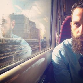 A Foot soldier in the Hipster Revolution by southcoasting batterseapowerstation, beard, beardsofinstagram, passengers, traingame,