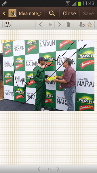 The legendary Narain Karthikeyan signs on the incredible Galaxy Note 2
