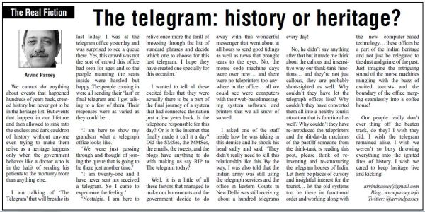 2013_07_15_The Education Post_The telegram - History or heritage