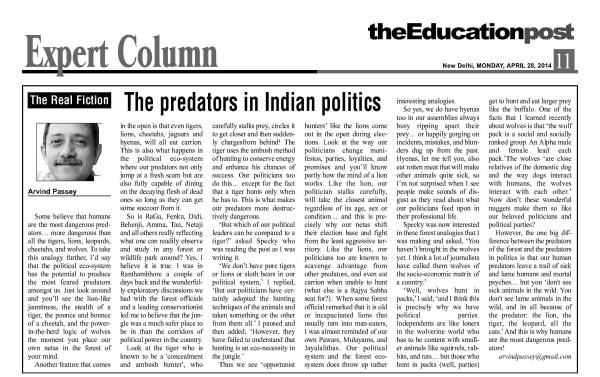 2014_04_28_The Education Post_Real Fiction_The predators in Indian politics