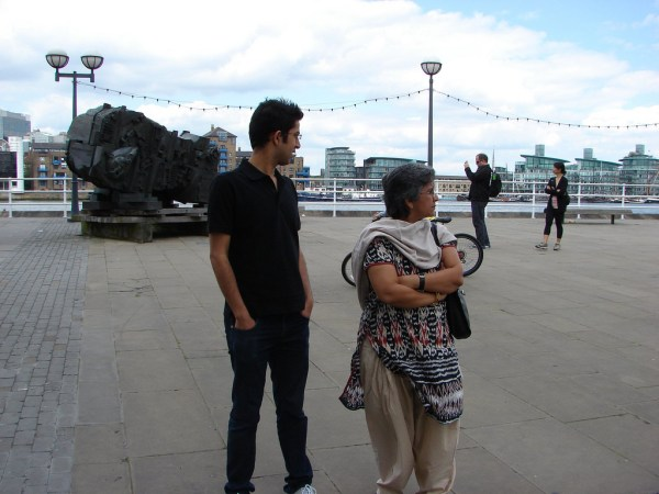 You can see the installation behind Pushkin and Sangita... this place is in front of the Design Museum, London. Pic shot in 2010
