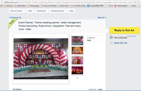 Quikr_event and wedding planners are there besides ads where one can search for brides and grooms too!