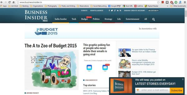 Article on Budget2015 published in BusinessInsider dot in