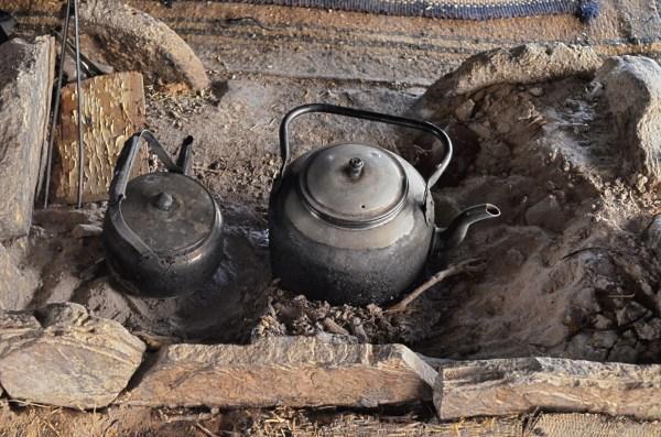 Two kettles in a Bedouin tent in Wadi Rum in Jordan