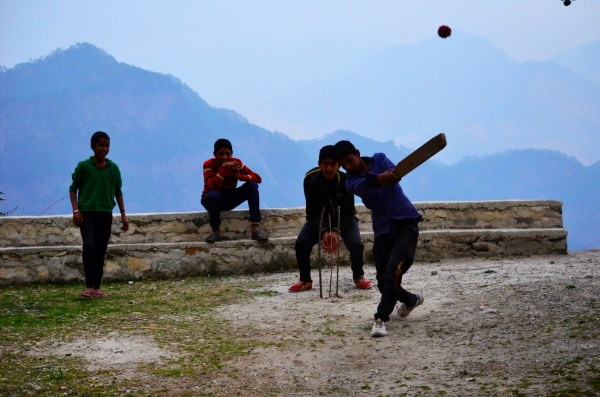 cricket in a school on a mountain top