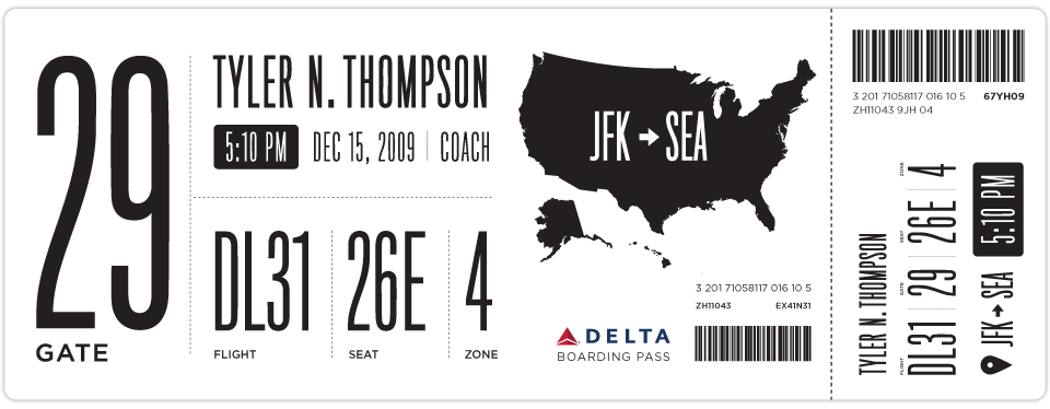 Graphic boarding pass redesign explorations