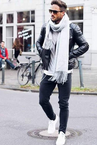 fe880532490d1 s habiller quand il fait froid homme écharpe en laine et perfecto en cuir