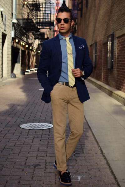 look homme blazer, chemise et pantalon chino