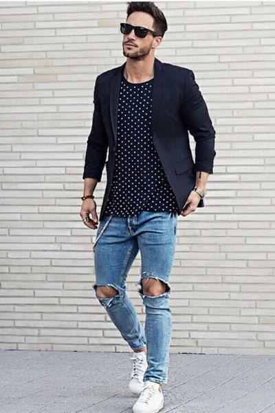 look homme t-shirt, blazer et jean