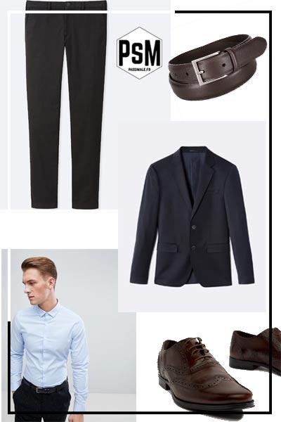 look habillé homme, pantalon chino noir et blazer marine