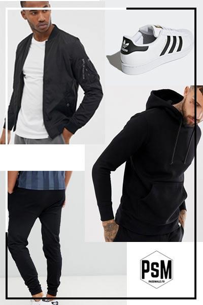 porter un pantalon noir dans un look sportswear