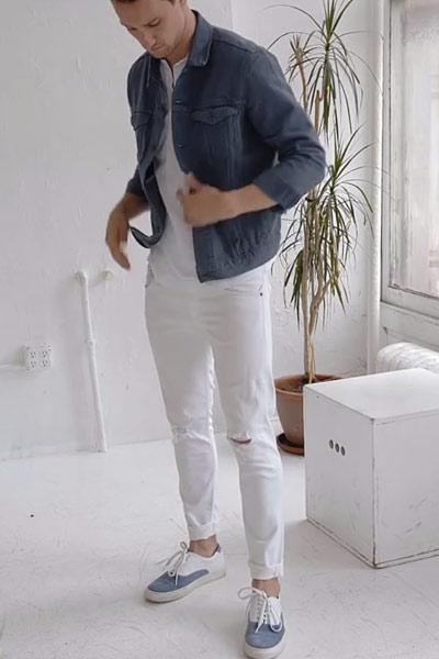 look homme total blanc avec veste en jean