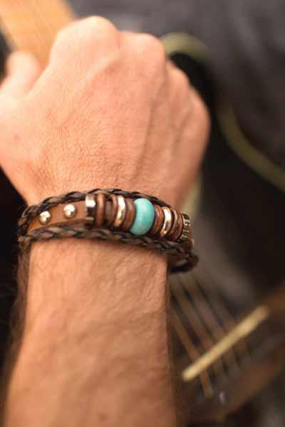 bracelet en cuir tressé homme