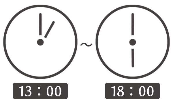 13時00分から18時00分の秒針