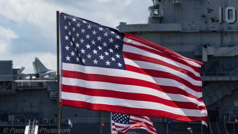 Flag of the United States at the USS Yorktown (CV-10)