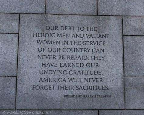 Plaque from WW II Memorial