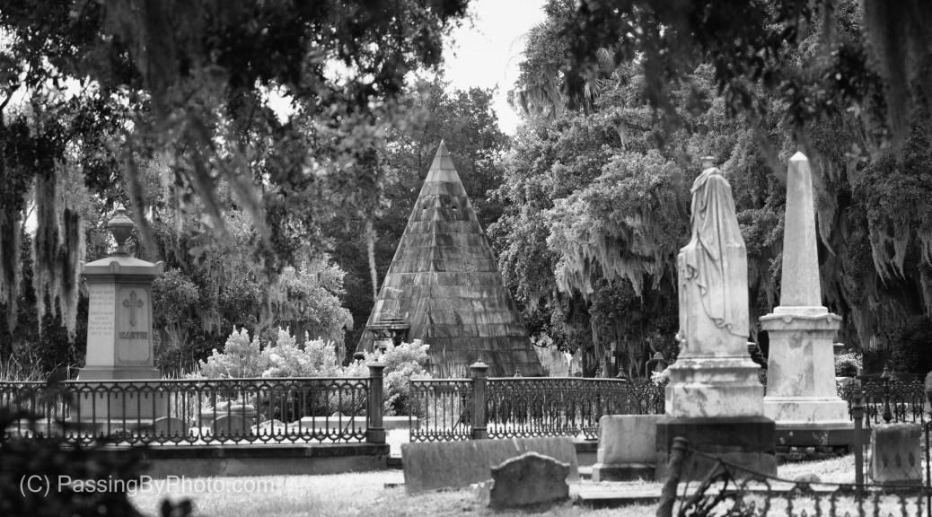 Magnolia Cemetery, Smith Pyramid through fence of Martin-Aiken Plot