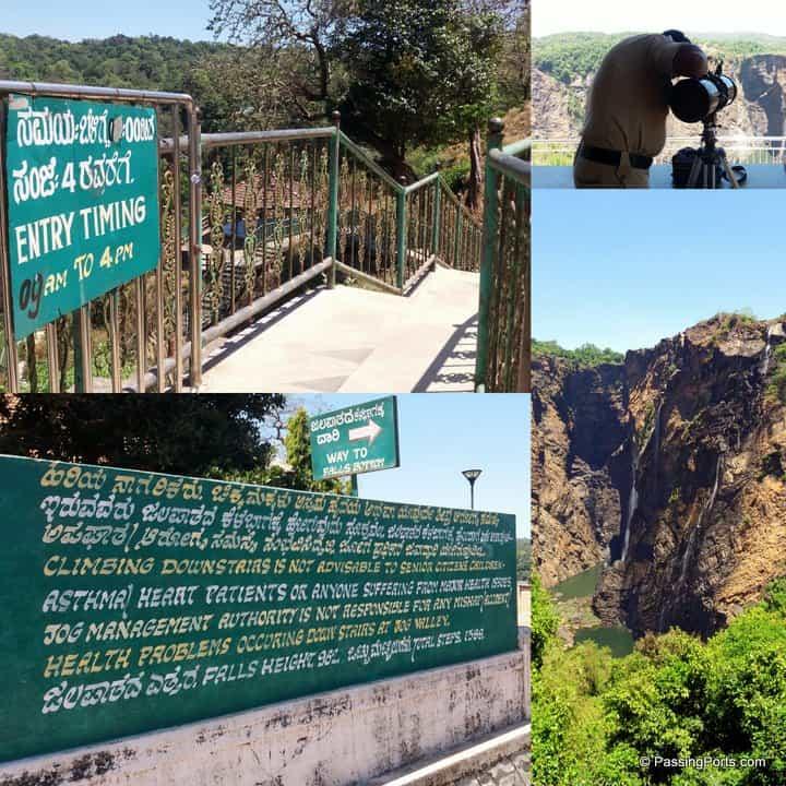 Climb down steep steps to see Jog falls