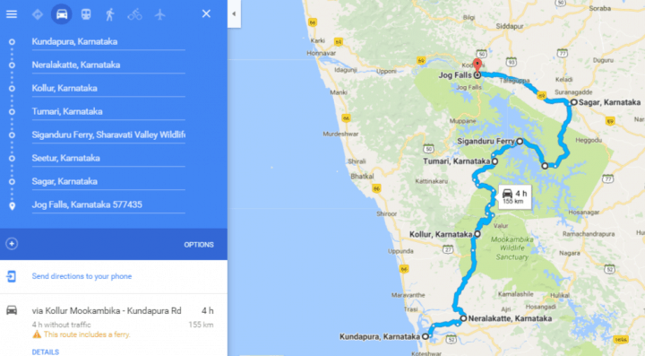 Map to Jog Falls