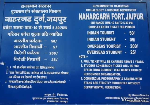 Information about Nahargarh Fort