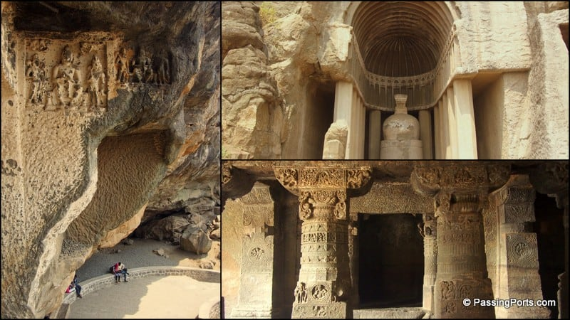 One side of the caves in Aurangabad caves