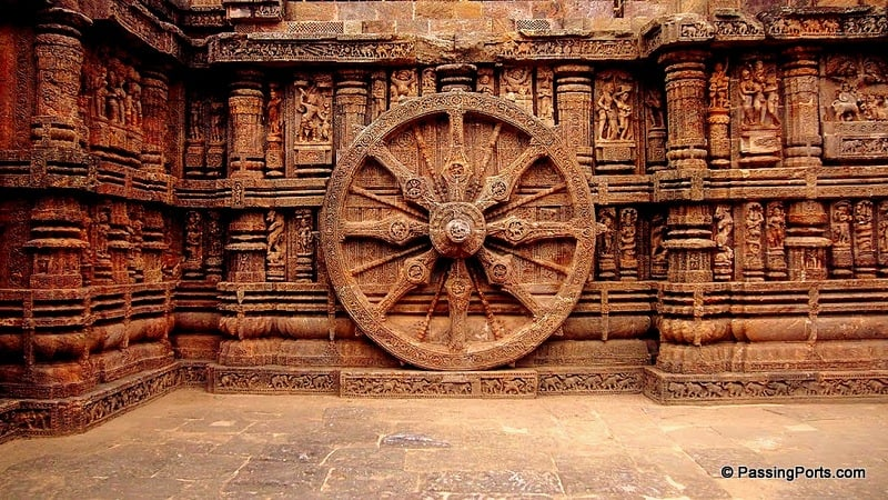 The famous wheels in Konark Temple