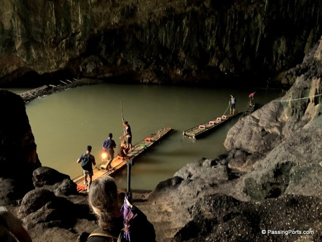 Bamboo rafts at Tham Lod Caves in Thailand