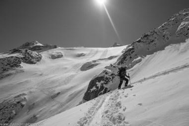 Des traces de suisses sur le glacier des Grands