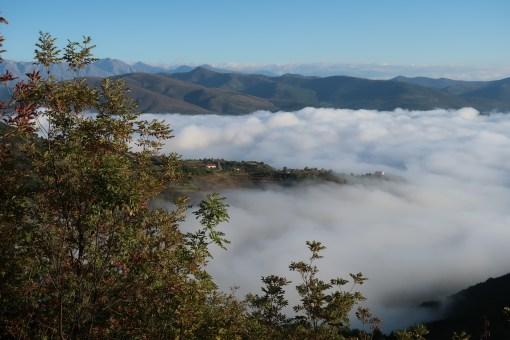 Belle mer de nuage au matin