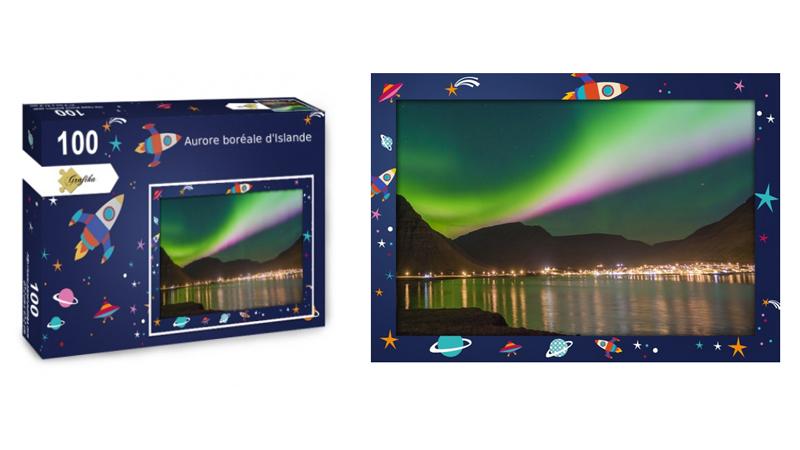 Aurore boréale d'Islande, puzzle 100 pièces, par Jean-Yves Petit