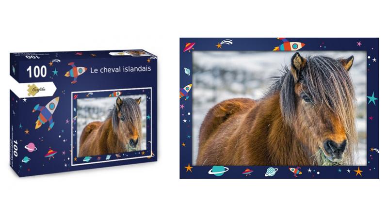 Le cheval islandais, puzzle 100 pièces, par Jean-Yves Petit