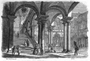MILANO: CORTILE DEL PALAZZO DI BRERA - Autore: Moja Federico (1802/ 1885), disegnatore; Achille Pietro (1799/ 1872), incisore; Ratti Francesco (1819/ 1895), incisore
