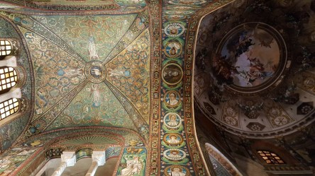 The mosaic compared to the painted ceiling