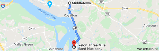 distance from 3-Mile Island nuclear plant