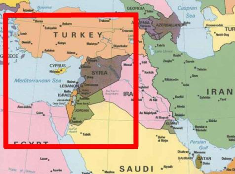 New Jerusalem using the present city of Jerusalem as the center point.