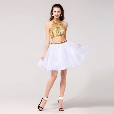 White-Gold-Two-Piece-Short-Prom-Dresses-Crystal-Beaded-Ball-Gowns-Elegant-Formal-Homecoming-Dresses-for