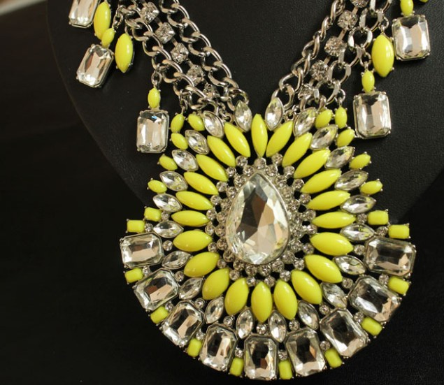 Wholesale-New-Fashion-Women-Luxury-Vintage-Glass-Crystal-Resin-Big-Yellow-Chunky-Costume-Jewelry-pendant-necklace