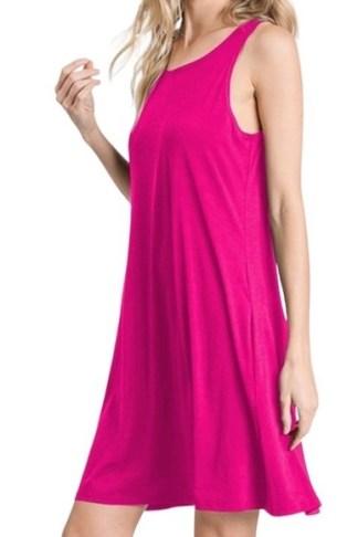 Pink Casual Sleeveless Knit Dress