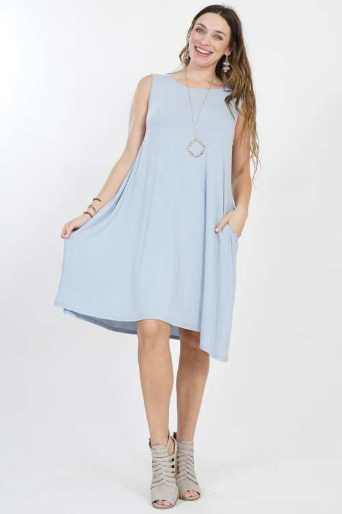 1X PLUS sleeveless side-pocket dress