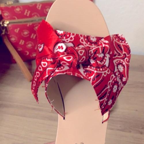 Bandana Print Bow Slide - Red