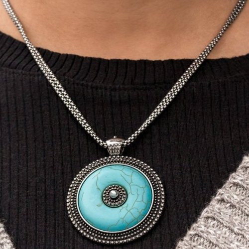 Epicenter Of Attention Blue Necklace