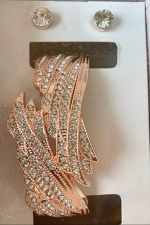 Rose gold bracelet and earrings set