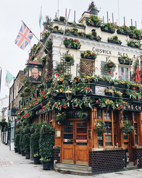Flower Covered Pub in London, England