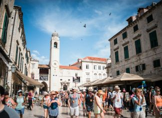 Tourists in the Old Town of Dubrovnik, Croatia