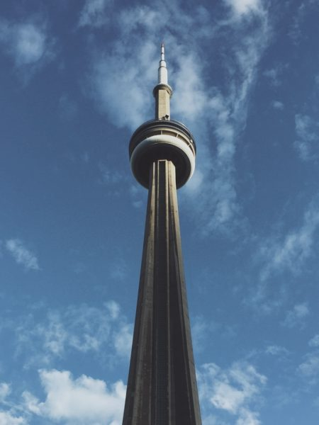 A profile shot of Toronto's CN Tower from below.