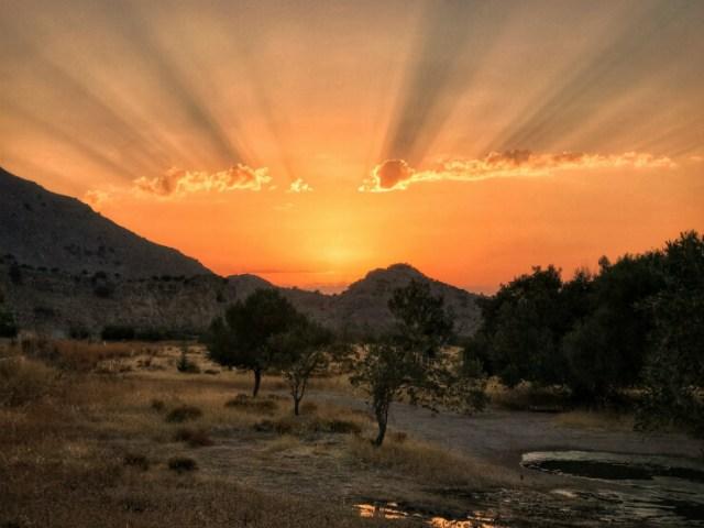 Kos, Greece during a fierey sunset